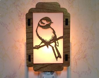 Chickadee Night Light with Oak Leaf Sides