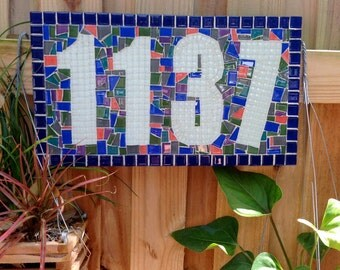 Colorful Mosaic Address Sign // Outdoor House Number Plaque in Blue Green Coral White