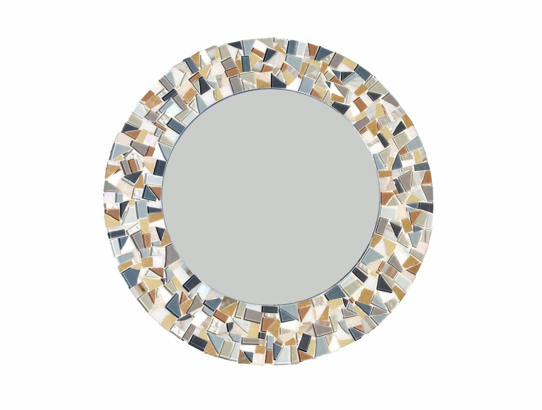 Custom mosaic mirror round wall mirror beach house decor for Mosaic mirror