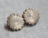 Antique Edwardian Brooch-pIN-Beautiful Etchings-Floral-Star-Sun Burst TT Team