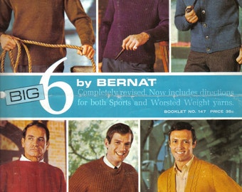 Vintage Men's Sweater Knitting Pattern Six Styles by Bernat Booklet 147 Sport and Worsted Weight Yarns Size 36 - 46 Chest