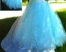 Womens Teens Ultimate Queen Elsa Tutu Dress - Removable Cape Aqua Teal Glitter Disney Princess Sheer Snowflake Sparkle