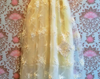 White appl ique lace organza tulle boho princess wedding dress by