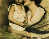 Instant Download or Print - Vintage Beautiful Mother and child (B9)