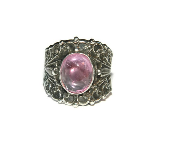 Pink Sapphire Ring Sterling Silver Ring With Wide Band