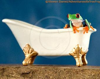 Frog and Bathtub - Bathroom Art - Bath Tub - Art for Bathroom