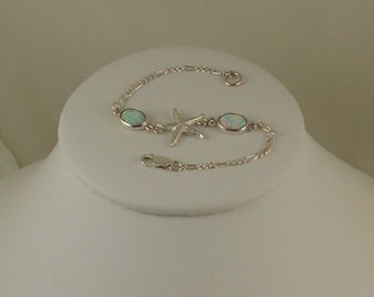Bracelet, Sterling Silver Seashell with White  Opals