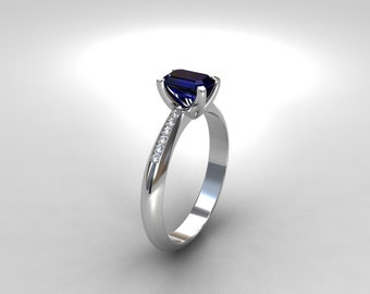 Blue sapphire ring, white gold solitaire, Diamond, emerald cut sapphire, solitaire, engagement ring, Diamond engagement, blue, emerald cut