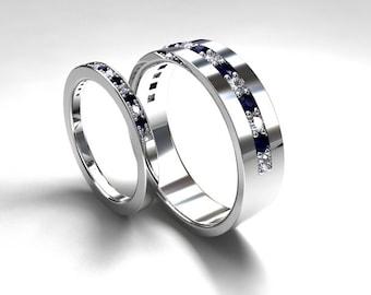 Blue sapphire and diamond wedding band set made from palladium, men sapphire wedding, matching rings, half eternity, diamond band, blue