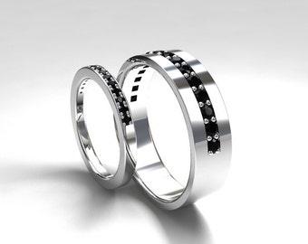 Black diamond wedding band set, white gold, yellow gold, rose gold, black diamond wedding, men diamond ring, gothic, wide, half eternity