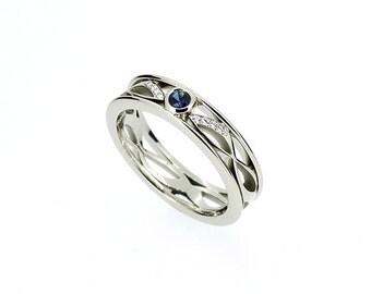 Blue sapphire ring, Diamond, filigree, white gold, wedding band, filigree wedding, blue wedding band, sapphire wedding, engagement ring