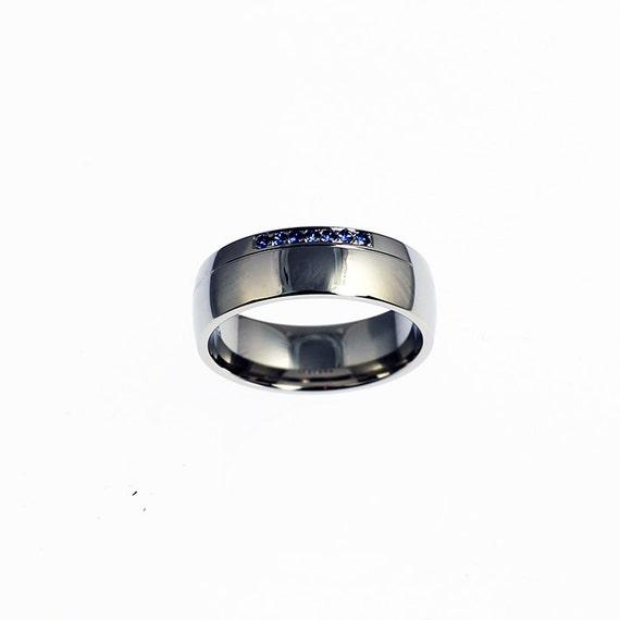 Blue Sapphire Ring Palladium Mens Wedding By TorkkeliJewellery