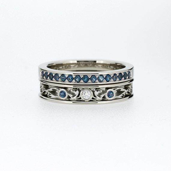 Engagement ring set Teal diamond ring filigree engagement