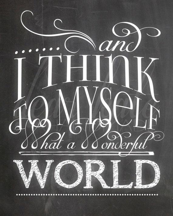 What A Wonderful World Chalkboard Print