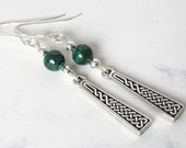 Celtic Knot Malachite Earrings, Sterling Silver Beads, Sterling Silver Earwires - Metaphysical