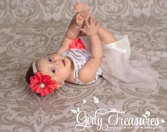 Coral Flower Headband. Baby Headband. Newborn Headband. Girl Headband. Infant Headband. Photo Prop.