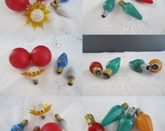 Vintage Christmas Tree Light Bulbs Assorted Shapes and Sizes