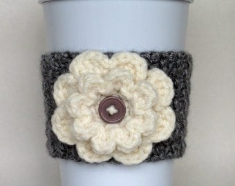 Crocheted Flower Coffee Cup Cozy Heather Gray and Cream