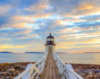 Marshall Point Lighthouse - Maine Photography - Lighthouse Print - New England - Sunset - Coastal Maine - Maine Art
