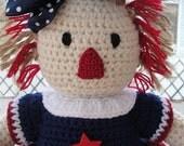 SALE CROCHET PATTERN Doll or Americana Home Decor Patriotic I Love America