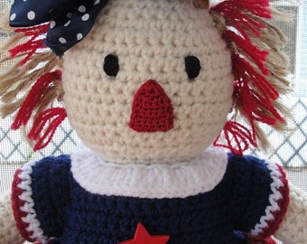 CROCHET PATTERN Doll or Americana Home Decor Patriotic I Love America