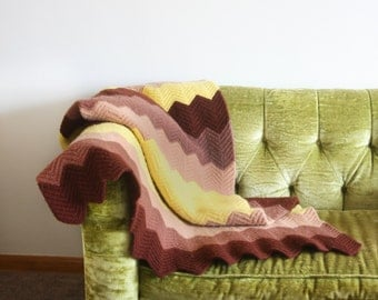 Crocheted Afghan in Brown Ombré Chevron Stripes