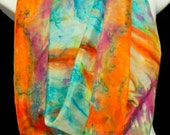 "Morning Sky Square SILK SCARF. Hand Painted Silk Scarf by New York  artist Joan Reese/ 30""x30"" /100% Silk"