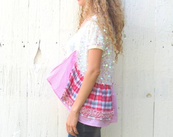 sequin Bolero , short sleeve shrug , upcycled clothing , size Med L, white cardigan, upcycled sweater, one of a kind sweater,  gift for her