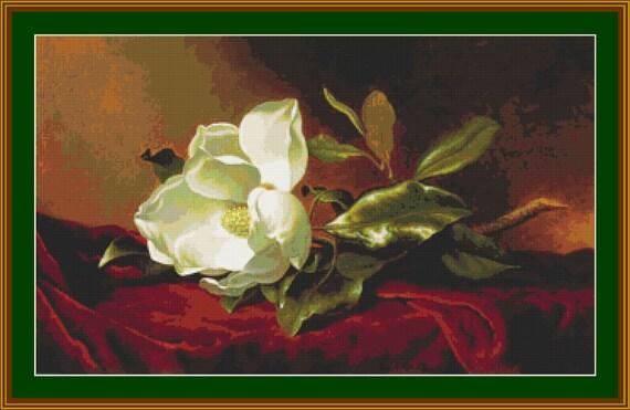 A Magnolia On Red Velvet Cross Stitch Pattern /Digital PDF Files /Instant downloadable