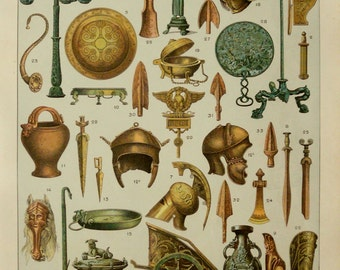 1900 Antique fine print of BRONZE AGE WEAPONS and Sculpture. 116 years old nice lithograph.