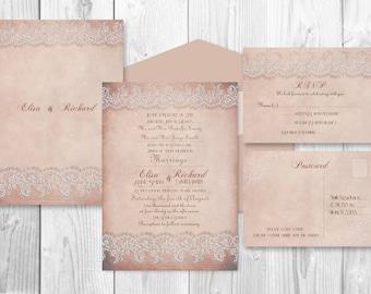 PRINTABLE WEDDING INVITATION sets  - Rustic Dusty rose set (invitation and rsvp card)
