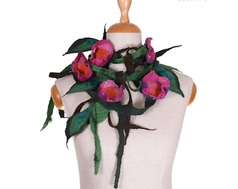 SALE!!!  lovely felt, felted necklace, elegant handmade collar, comfortable neckwear flowers and leaves IV - by inmano