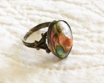 Vintage Shabby Chic Sterling Silver Shell Inlay Ring, Cottage Home, Olives and Doves