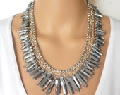 Titanium Crystal Point Statement Necklace, Metallic Silver Quartz Jewelry in Silver, Chunky Multi Strand Necklace