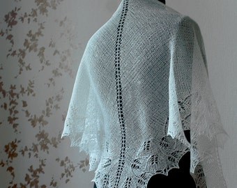 White linen shawl - natural white