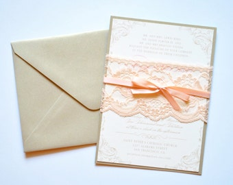 Wedding Invitation, Lace Wedding Invitation Cards, Blush Wedding Invitations Sets, Vintage Wedding Invites - Wedding Invitation Template