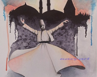 Original Painting, Whirling Dervish, spinning dervish, splash, 9x13 inc, rumi, sufi, Yellow, blue, orange, black,