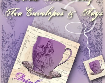 Printable Tea Bag Envelopes & Tags - Mad Tea Party - Alice in Wonderland - Through the Looking Glass
