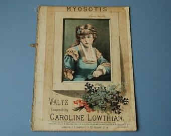 Antique sheet music art Myosotis Caroline Lowthian Waltz sheet music Victorian portrait woman Wall hanging Home decor