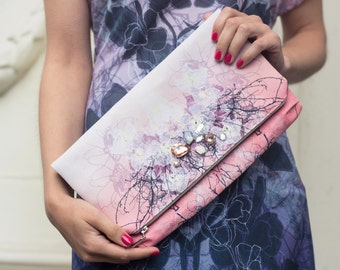 Orchid dream  - printed  theater clutch bag