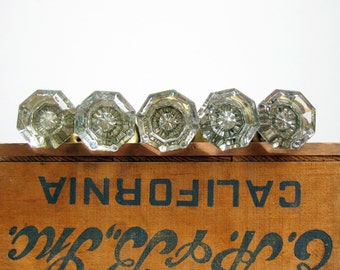 Antique Glass Door Knobs with Interior Star, Eight-Sided Glass Knob Sets with Mercury Starburst, Antique Door Hardware, Priced Individually