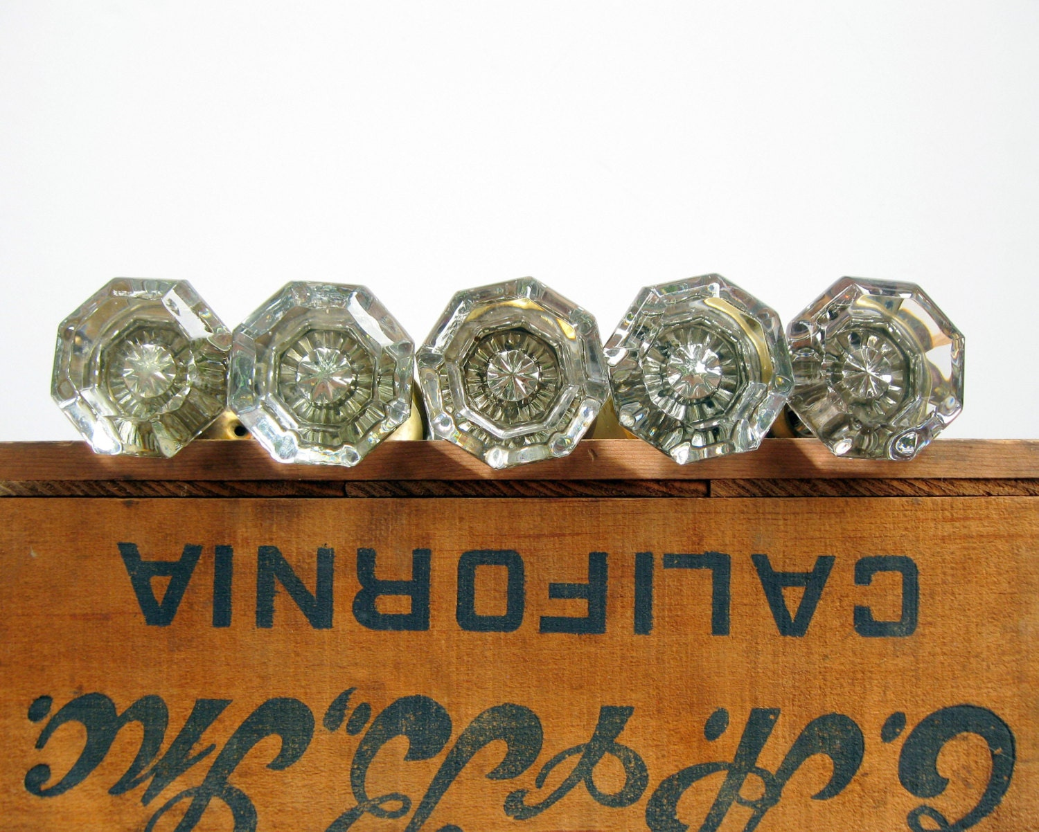 Antique Glass Door Knobs with Interior Star by