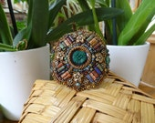 Antique Buttons, Picasso and Bronze Flower Beads, Highly Textured, Earth Tones, Nature Girl Bracelet