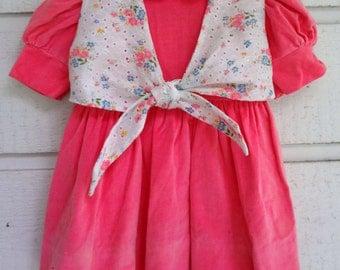 Vintage Girls Pink Velvet Dress with floral vest- Size 4 - Like New Condition