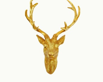 The Eloise Deer Head Wall Mount in Gold Leaf Faux  , Faux Taxidermy
