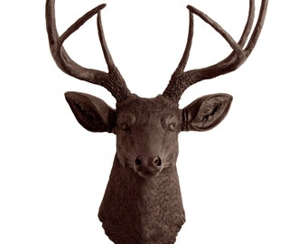White Faux Taxidermy - Faux Deer Head - The Coffee - Brown Resin Deer Head- Stag Resin Brown Faux Taxidermy- Chic & Trendy