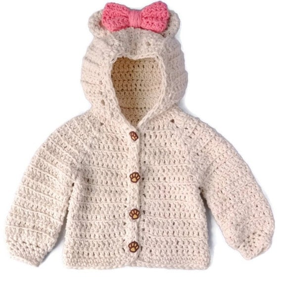 Crochet Baby Girl Sweater Bear Hood Baby Sweater Crochet