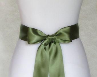 Green Bridal Sash - Willow Green Bridal Sash - Green Wedding Sash - Green Double Face Satin Sash