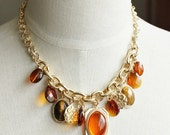 Grand Amber Charm Statement Necklace / Anthropologie Necklace / Chunky Statement / Crystal Statement Necklace/ Bib Necklace / Jcrew Necklace
