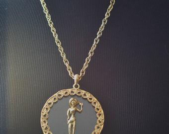 Vintage Greek Goddess Pendant Necklace